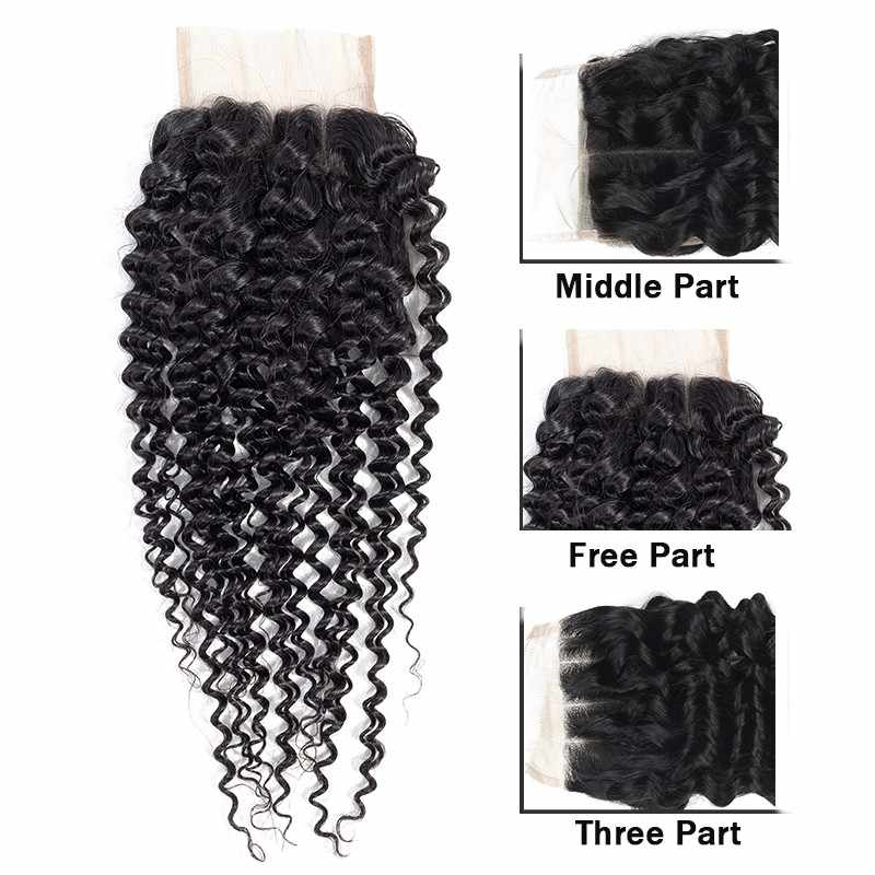 Kinky kıvırcık demetleri ile kapatma 3 demetleri ile kapatma brazillian remy insan saç demetleri ile kapatma 22 24 26 inç tissage