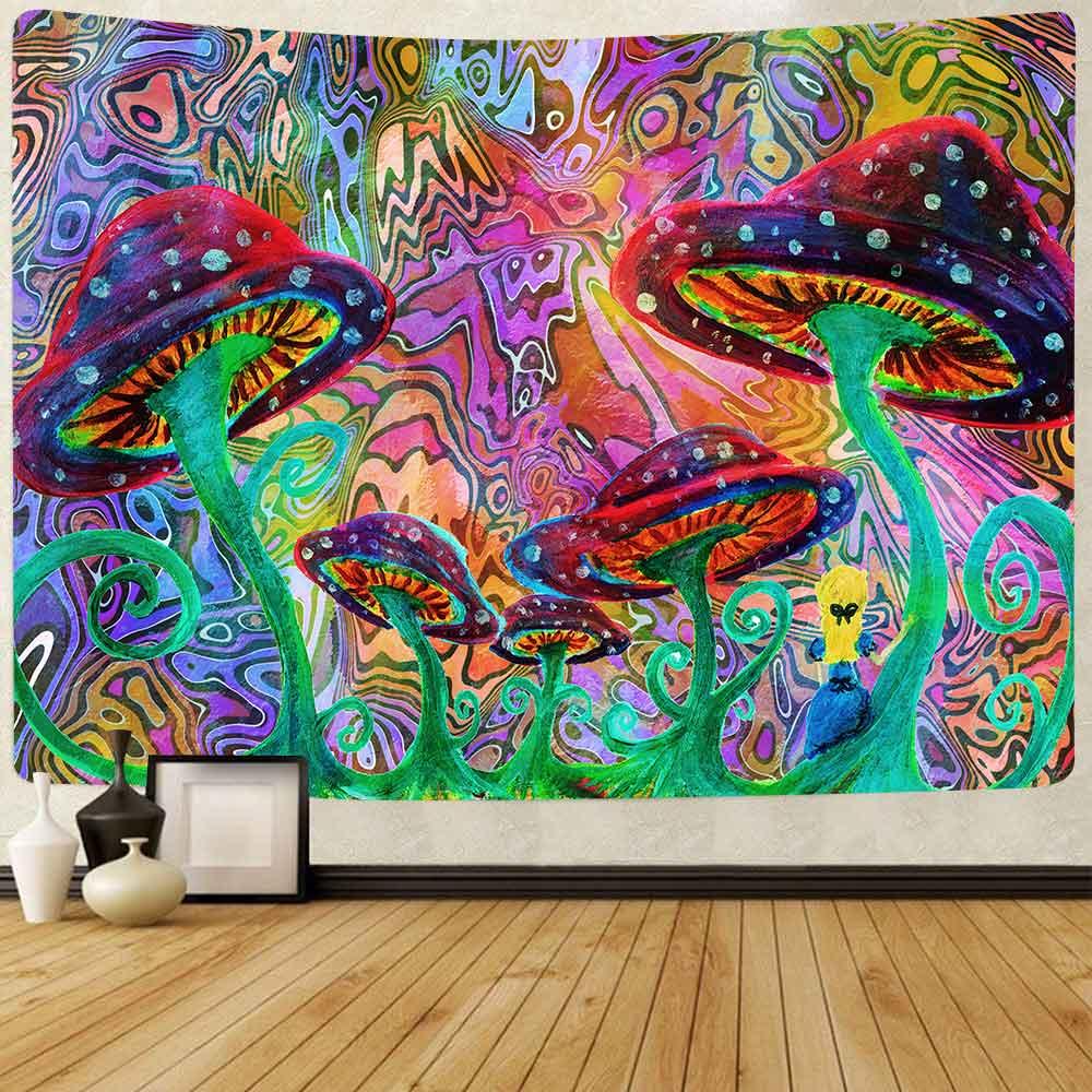 Simsant психоделические грибы гобелен с цветным абстрактным милые животные Олень гобелен настенный гобелен для дома и общежития фантазия Деко...