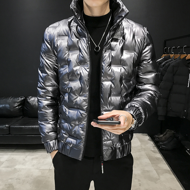 Shiny Men's Jacket Coats 2019 Winter Men Short Thick Cotton Coat Jacket Fashion Stand Collar Slim Clothes Winter Parka Coat Men