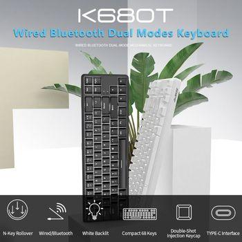 Teclado mecánico con Bluetooth 68 teclas con diseño Anti-ghosting para Jazz K680t