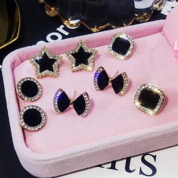 Pickyandco brincos para mulheres simples preto brincos coreano personalidade selvagem brincos bling estrela brincos de cristal 1
