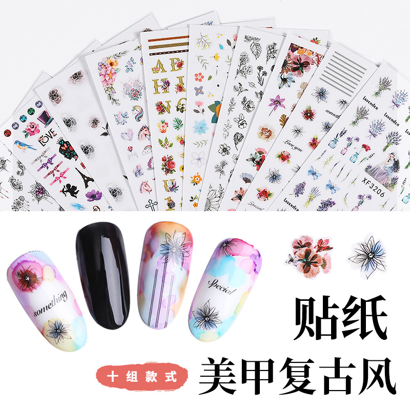 New Style Manicure Flower Stickers 3D Waterproof Retro Nail Sticker Nail Ornament Nail Patch