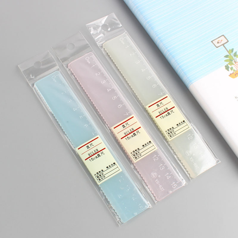 Creative Simple Candy-Colored Transparent Ruler Acrylic Ruler Multi-functional Hui Tu Chi Students PDA Feet 15 Cm
