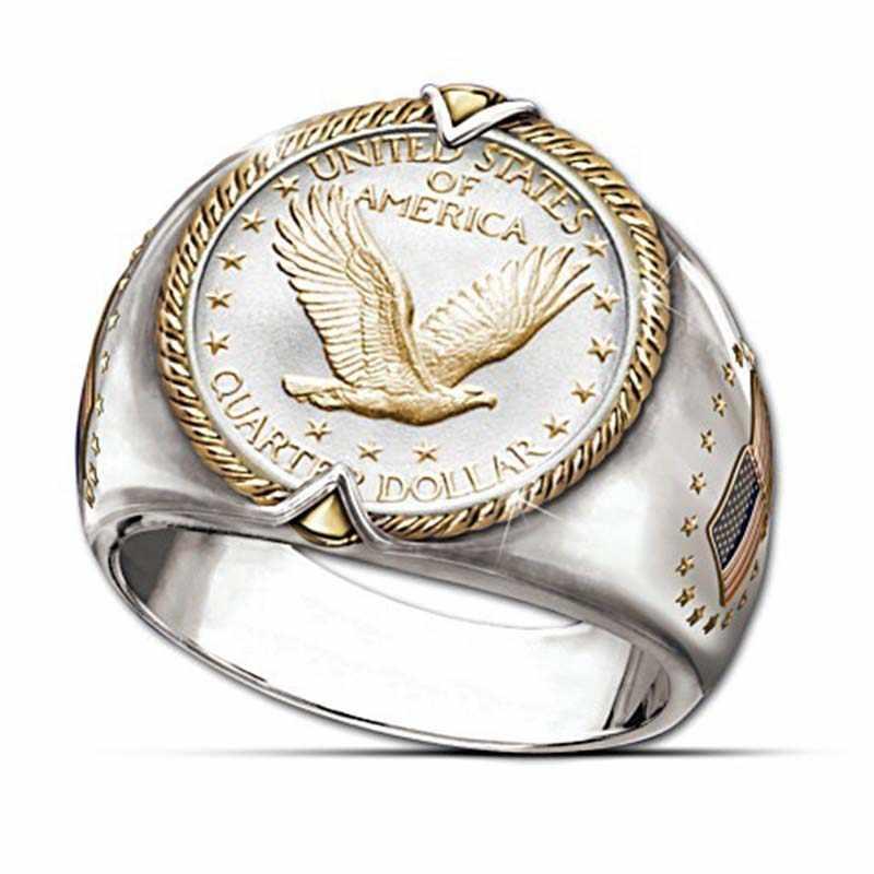 925 Argento Mens Anelli Due Tono American Eagle Simbolo Gioielli Fidanzato Regalo Di Natale Elegante Hip Hop Uomini Vichingo Eagle Coin anello