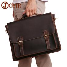 лучшая цена JOYIR Crazy Horse Leather Men's Briefcase Laptop Bag Business Bag Genuine Leather Shoulder Messenger Bag Office Bags For Men New