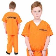 Unisex childs laranja prisioneiro traje crianças fantasia vestido condenado brinquedos traje 3-9 anos