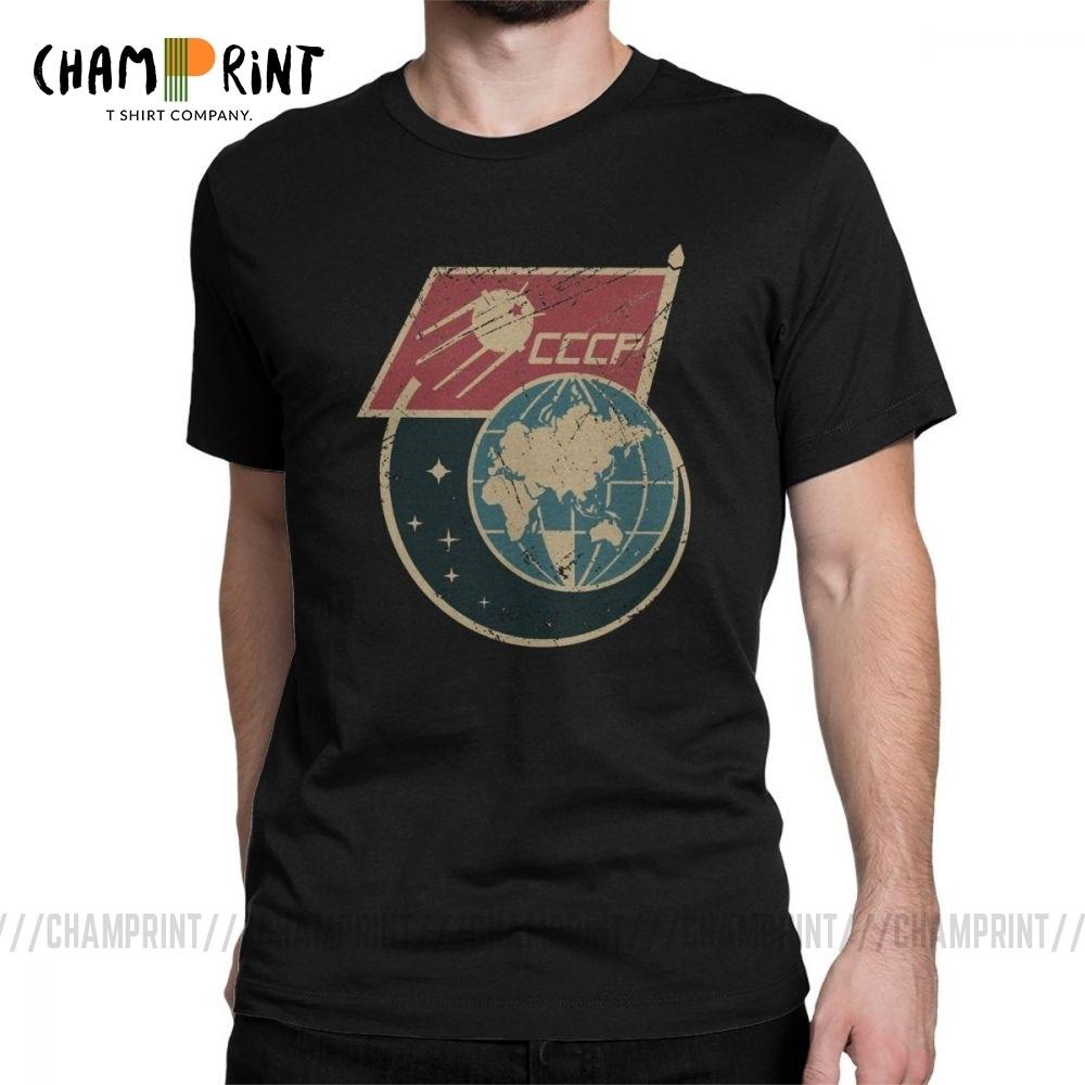 Men CCCP Retro Russia Satellite T Shirts Pure Cotton Tops Hipster Short Sleeve Crewneck Tees Gift Idea T-Shirt