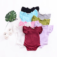 New Boutique Toddler Kids Baby Girls Flutter Sleeve Bodysuits Jumpsuit Outfits Children Clothes Sunsuit Infant Solid Clothing contrast tipping flutter sleeve wrap jumpsuit
