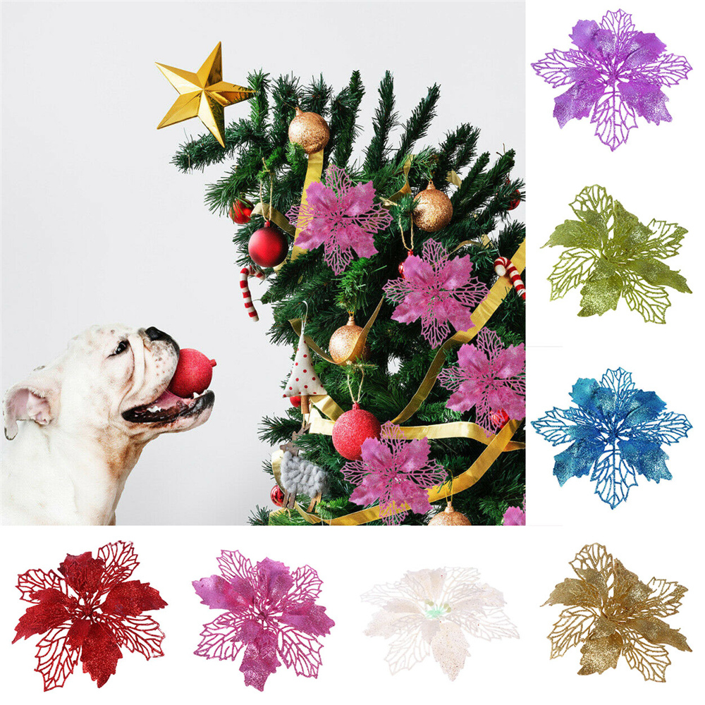 Christmas Glitter Flower Decor Tree Decorations For Home Wedding Party Hollow 17×17cm
