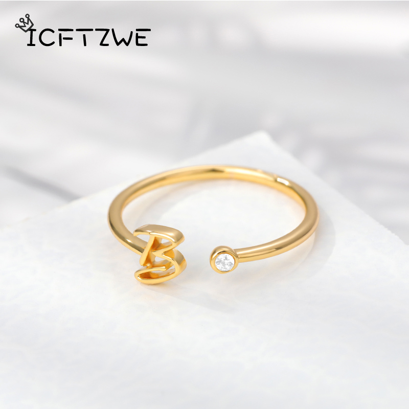 Tiny Initial Letter Rings For Women Stainless Steel Gold Letter Finger Adjustable A-Z Ring Boho Aesthetic Jewelry bijoux femme