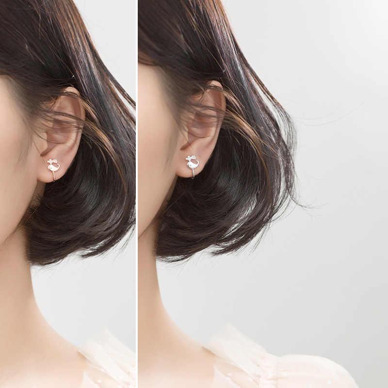 Trustdavis 100% 925 Sterling Silver Brillante CZ Polsino Dell'orecchio Clip on Orecchini per le Donne Della Ragazza Senza Orecchini Piercing Dei Monili DA372