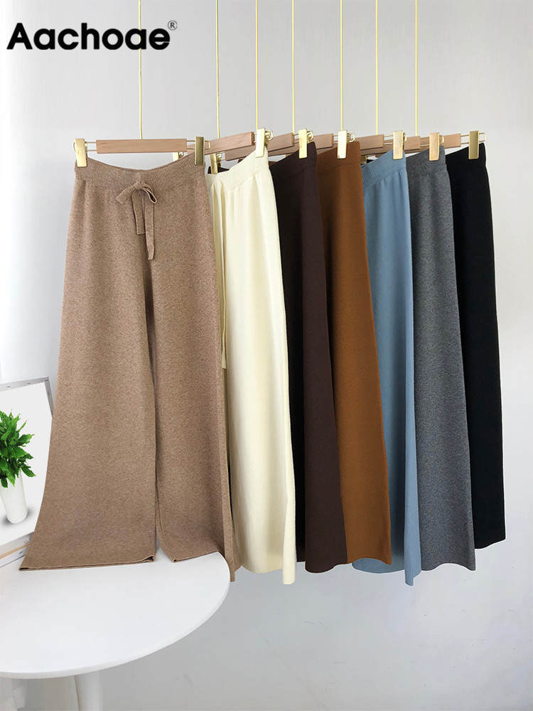 Knit Pants Trousers Drawstring Wide-Leg Home-Wear Office Loose Aachoae Long-Length Casual