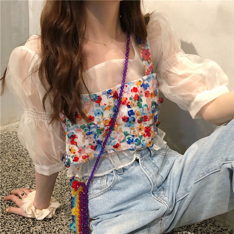 2020 Sweet Puff Sleeved Mesh Shirts Summer Sexy Floral Two Pieces Transparent Shirt&Sequined Crop Tops Women Blouse X04