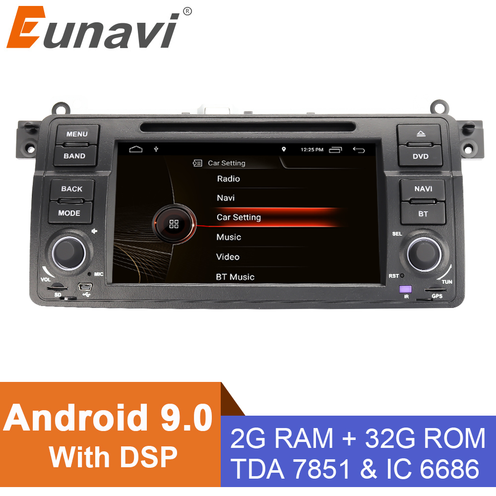 Eunavi 1 din Android 9.0 Car DVD player for BMW E46 M3 Rover 3 Series 7 inch radio stereo gps navigation head unit wifi dsp usb image