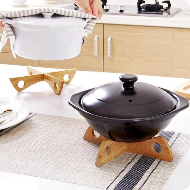 Tray Rack Detachable Wood Table Mat Kitchen Pot Heat Insulated Cooling Dish Potholders Gadget Holder 2