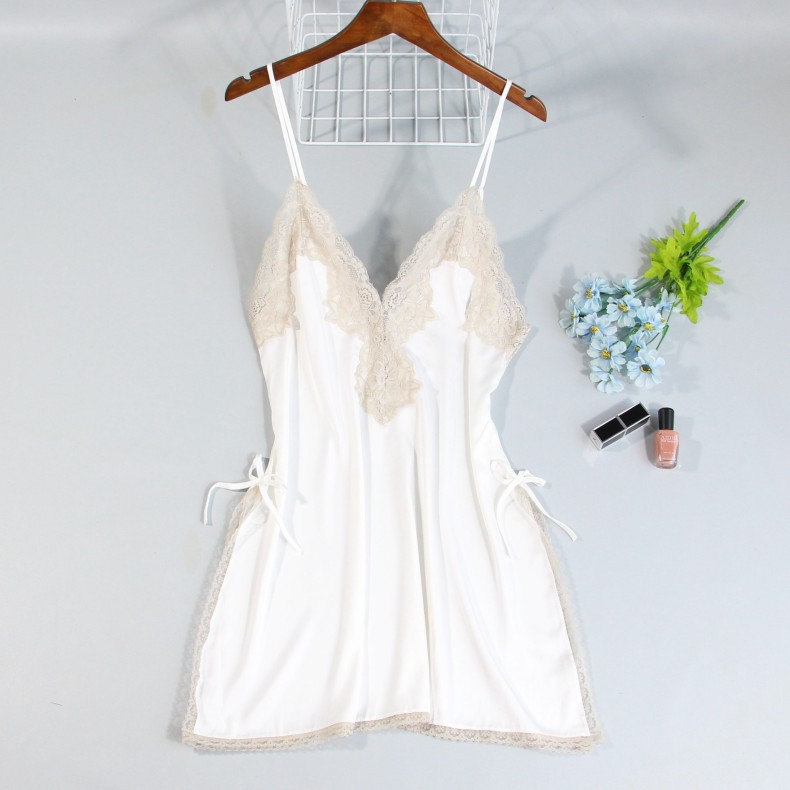 Nightshirts Sleepwear Women Sleeveless   Nightgowns   Silk   Sleepshirts   2019 Satin Sexy Spaghetti Strap Nightdress Nightwear