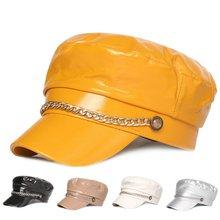 Женские шапки газетчика зимние для женщин декоративная цепочка