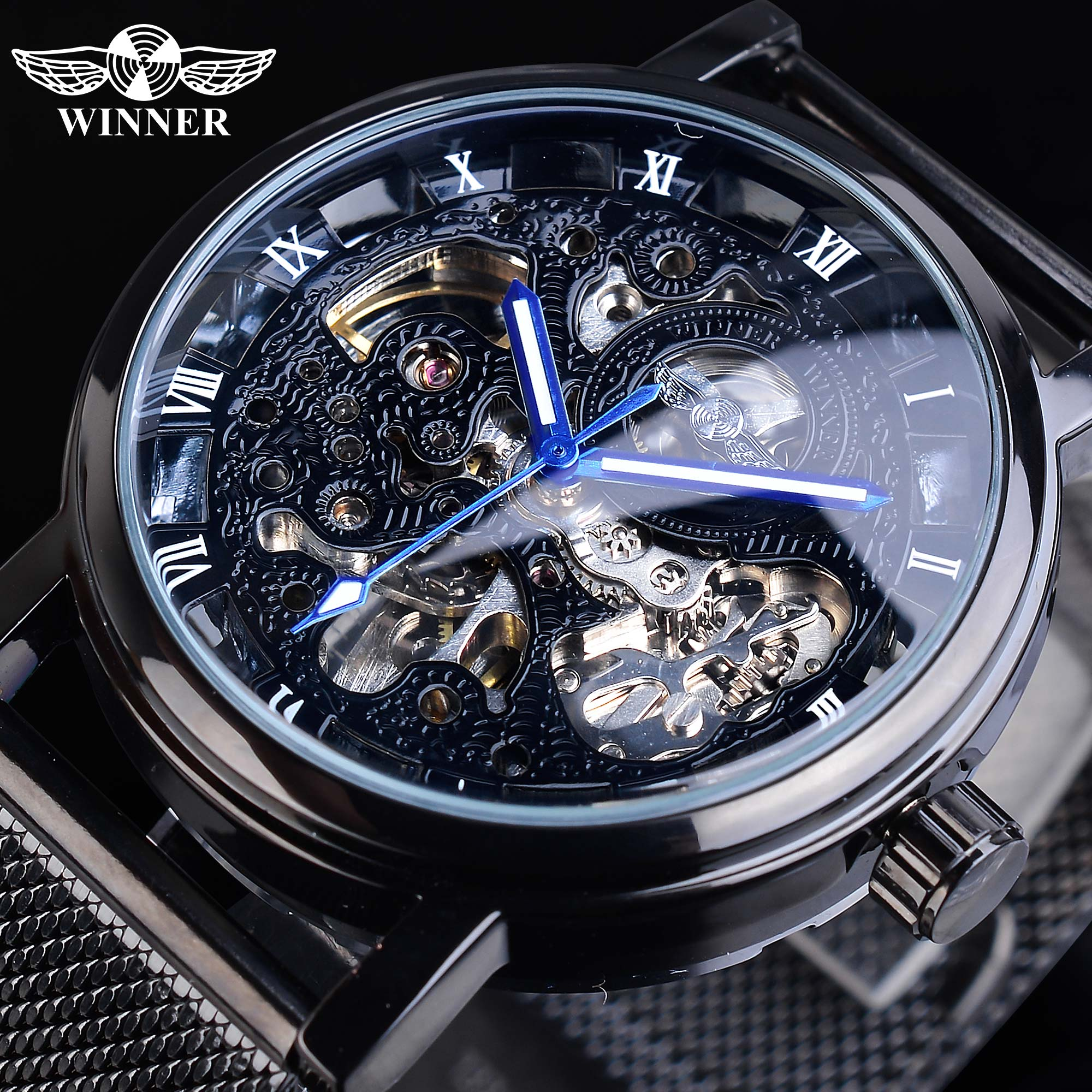Winner Blue Hands Black Stainless Steel Mesh Band Mens Mechanical Male Clock Top Brand Luxury Skeleton Automatic Watch Luminous