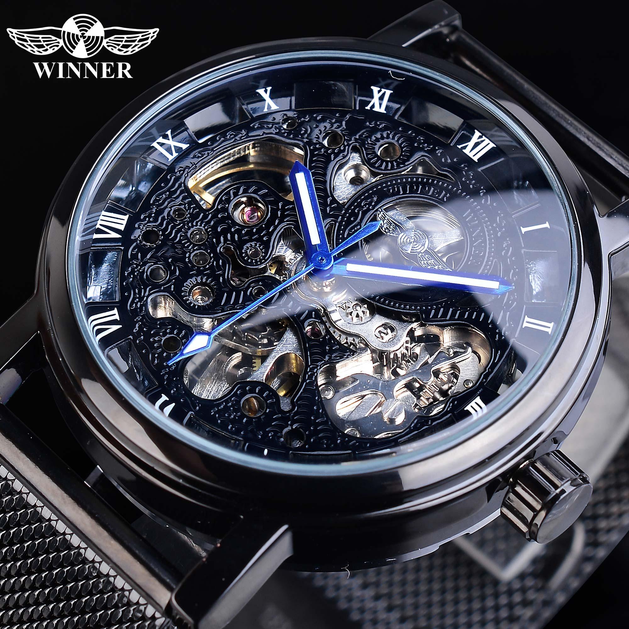 Winner Blue Hands Black Stainless Steel Mesh Band Mens Mechanical Male Clock Top Brand Luxury Skeleton Automatic Watch Luminous