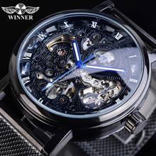 Winner Blue Hands Black Stainless Steel Mesh Band Mens Mechanical Male Clock Top Brand Luxury Skeleton Automatic Watch Luminous цена и фото