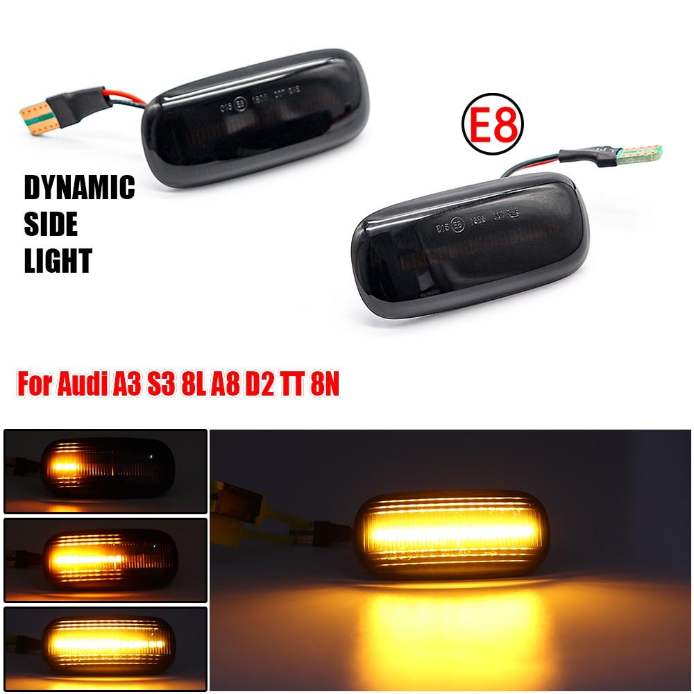 2Pcs/Set LED Dynamic Turn Signals Light Side Marker Indicator For Audi A3 S3 8L 2000-2003 A8 D2 1999-2002 TT 8N 2000-2006
