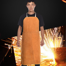 High temperature resistant Welding apron leather protection body welding clothes welding safety soldering mat wear resistant cowhide welding leather sleeves of welder clothing with high temperature resistance working safety sleeves g0823