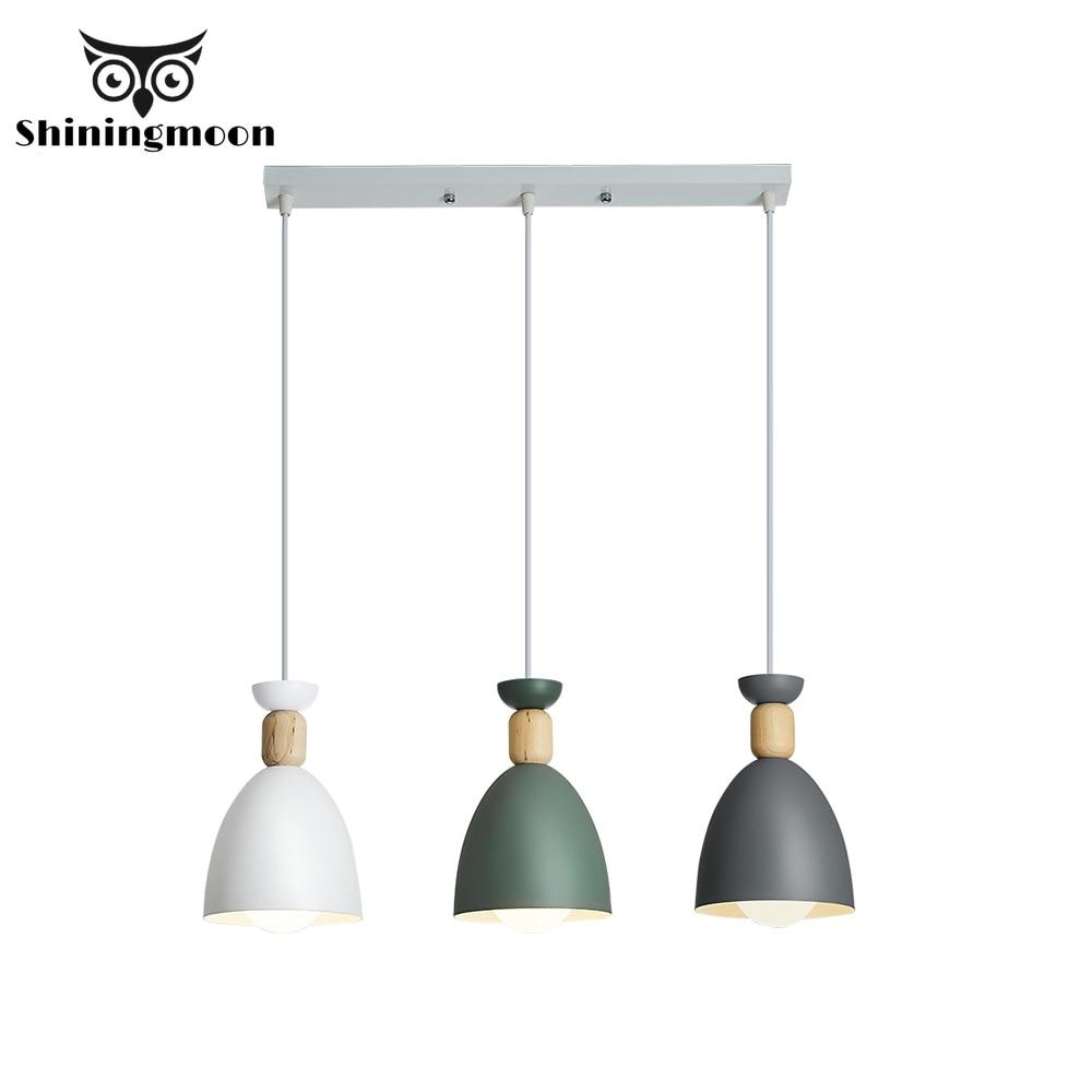 Nordic Iron Pendant Lights Modern Wood Luminaire Suspension Simple Hanging Lights Kitchen Dining Room Lustre Pendente Hanglamp