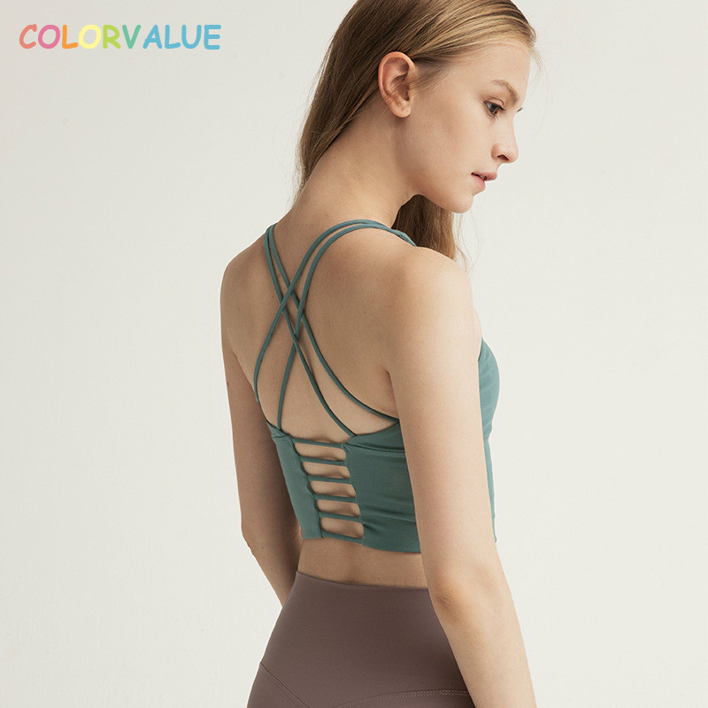 Colorvalue Solid Spaghetti Straps Yoga Gym Crop Tops Women Quick Dry Running Sport Bras Wireless Fitness Jogger Vest Tank Tops