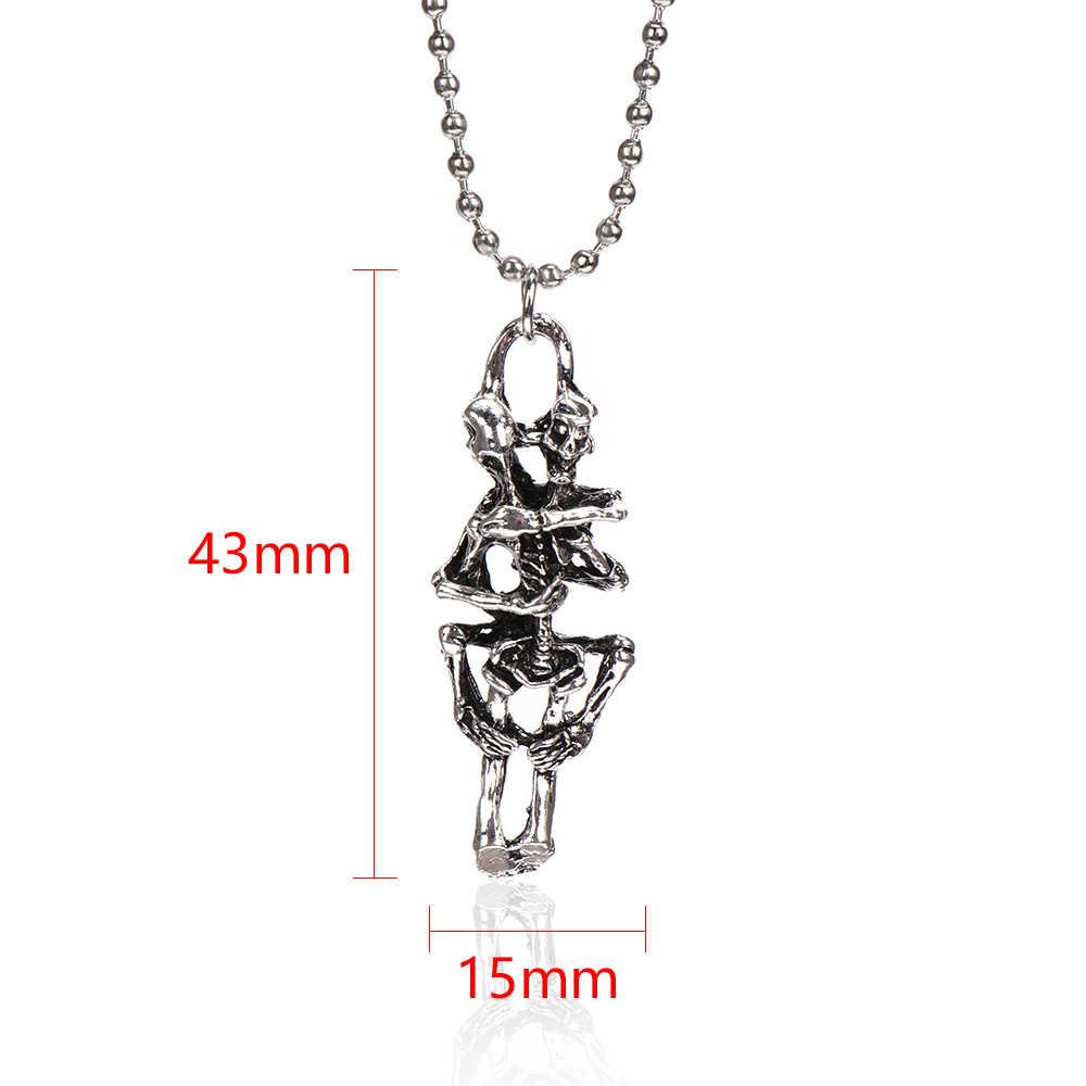 1 sztuk New Fashion nieskończoność tybet srebrny czarny czaszka ze stali nierdzewnej łańcuszek z wisiorem naszyjnik biżuterii dla kobiet mężczyzn prezent