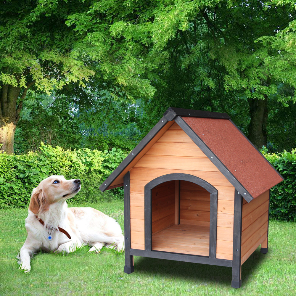 Wooden Pet <font><b>Dog</b></font> <font><b>House</b></font> <font><b>Wood</b></font> Room In/<font><b>Outdoor</b></font> Raised Roof Balcony Bed Shelter Waterproof <font><b>Dog</b></font> Kennel For Small <font><b>Dogs</b></font> image