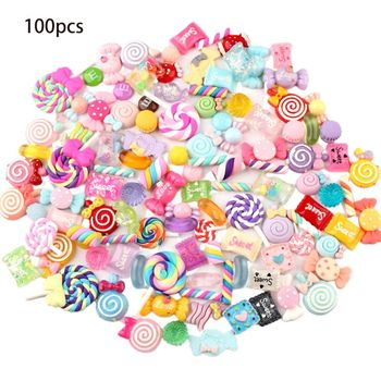 30/50/100Pcs Assorted Resin Charms Mixed Candy Sweets Drop Oil Flatback Cabochon Beads for DIY Scrapbooking Phonecase Crafts недорого