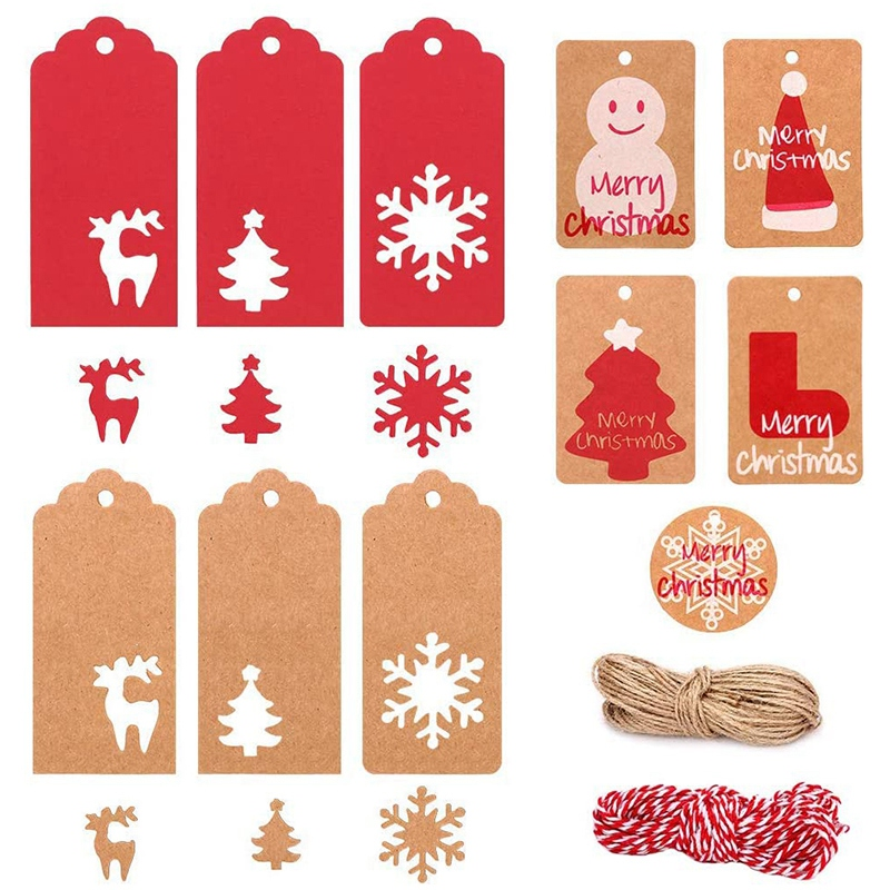 220Pcs Christmas Paper Tags Kraft Paper Gift Tags Hang Labels with String Christmas Tree Hanging Label