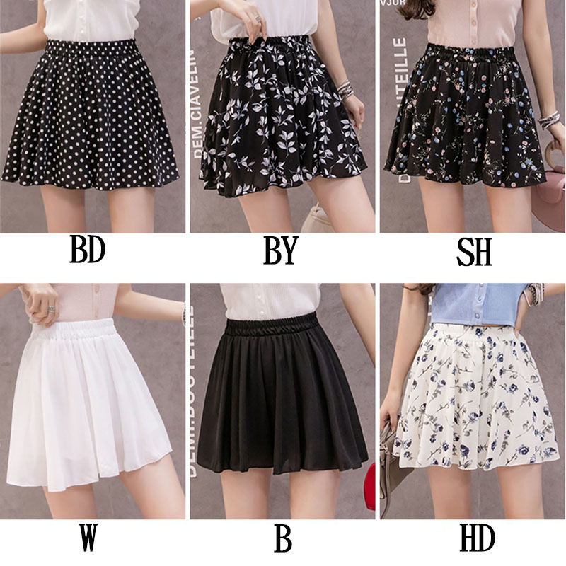 Summer Women Shorts Floral Print Chiffon High Wist Casual Shorts Skirts Anti-Light Fashion Loose Spodenki 2019 Hot Sale Shorts