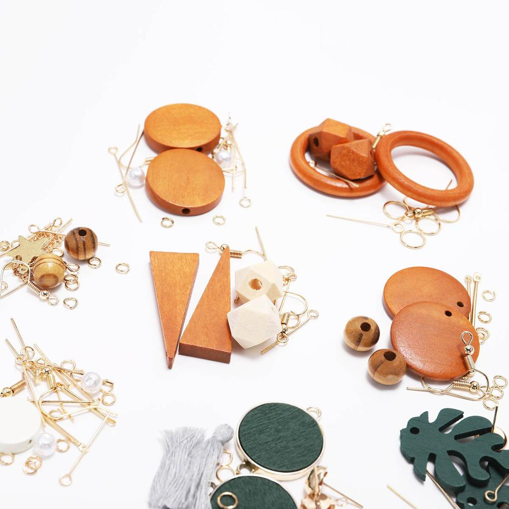 Korean Fashion Wood Drop Earrings For DIY Jewelry Package Suit Statement Long Earrings Hooks Handwork Jewelry Makings Supplies
