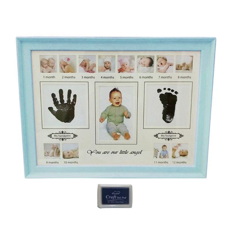 Baby Handprint Footprint Photo Frame With Stamp Ink Newborn Decor Gift Kids Imprint Hand Inkpad Souvenirs