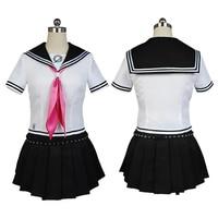 Game Danganronpa Ibuki Mioda Cosplay Dress Punk School Girls Sailor Uniform Anime Cosplay Costumes Suit Tops+Skirt Wigs
