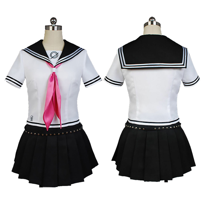 Game <font><b>Danganronpa</b></font> Ibuki Mioda <font><b>Cosplay</b></font> Dress Punk School Girls Sailor Uniform Anime <font><b>Cosplay</b></font> Costumes Suit Tops+Skirt Wigs image