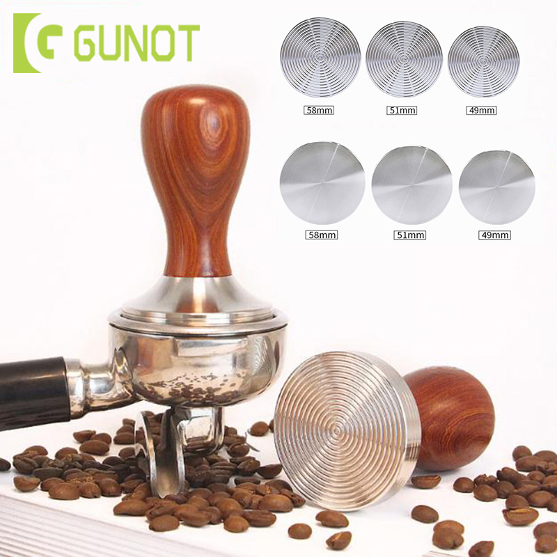 GUNOT Stainless Steel Flat Tamper Manual Holder Coffee Tamper 51mm Maker Grinder Coffee Tools Press Coffee Grinder Solid Flat