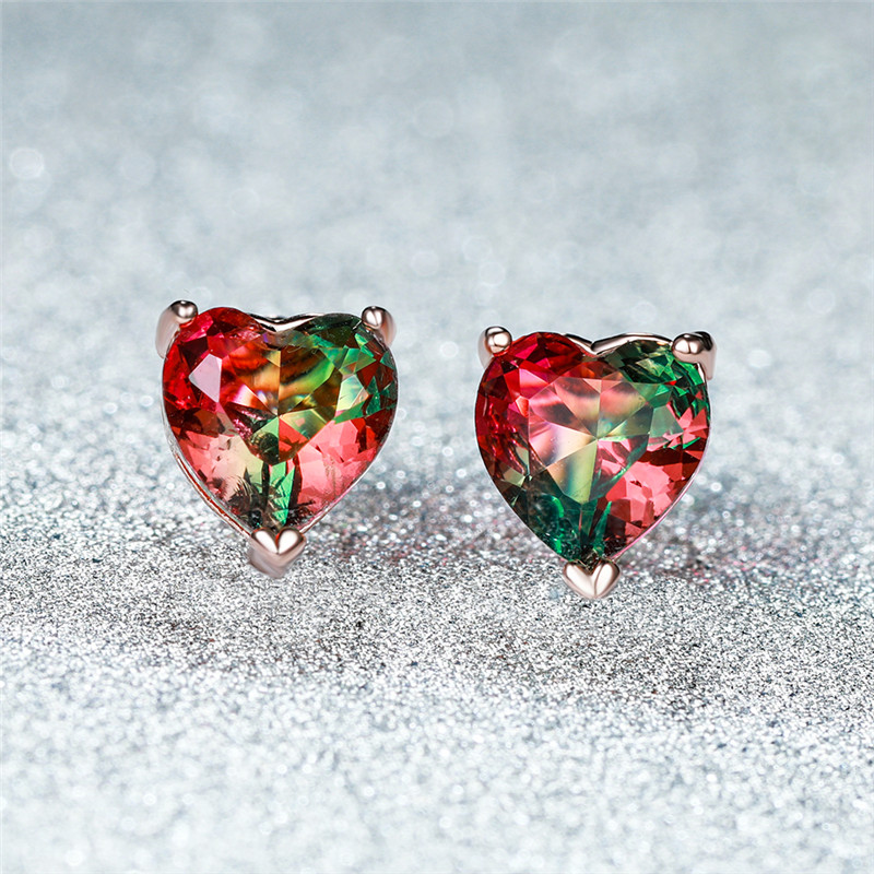 Vintage Fashion Rose Gold Love Heart Stud Earrings For Women Red Green Crystal Rainbow Gradient Zircon Earrings Wedding Jewelry