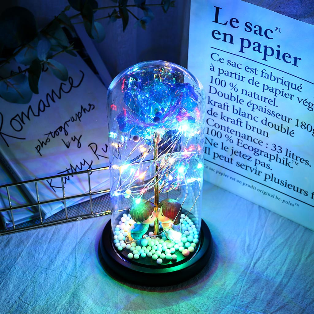 2020 New Wishing Girl Galaxy Rose In Flask LED Flashing Flowers In Glass Dome For Wedding Decoration Valentine's Day Gift#YL5