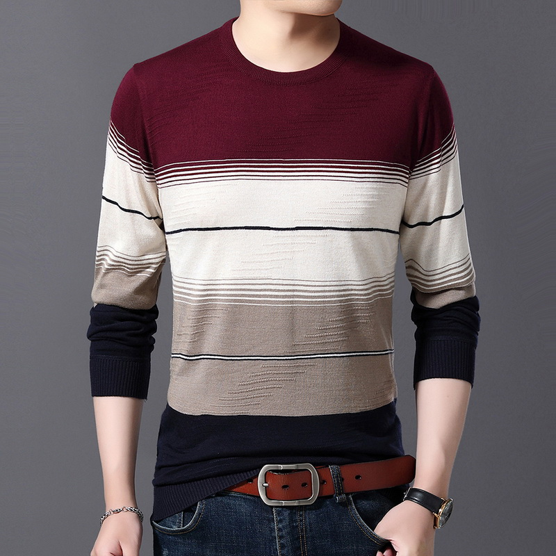 WENYUJH 2019 Autumn New Men's Sweater O-Neck Striped Slim Fit Knittwear Mens Sweaters Pullover Men Pull Homme 4XL Men Colthing
