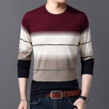 WENYUJH 2019 Autumn New Mens Sweater O-Neck Striped Slim Fit Knittwear Sweaters Pullover Men Pull Homme 4XL Colthing