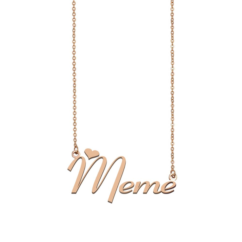 Meme Name Necklace , Custom Name Necklace for Women Girls Best Friends Birthday Wedding Christmas Mother Days Gift image