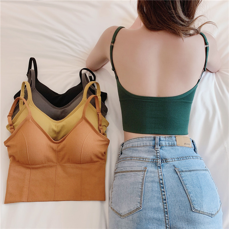 Sexy Backless Bralette Active Bra For Women Seamless Padded Bra Women Lingerie Cotton Wireless Fitness Long Tops Brassiere Bra
