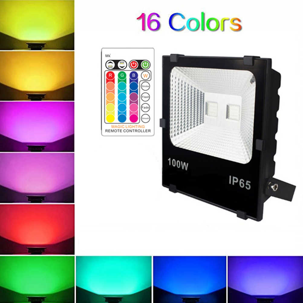 RGB LED Floodlight 10W 30W 50W Color Changing Outdoor Spotlight Remote IP65
