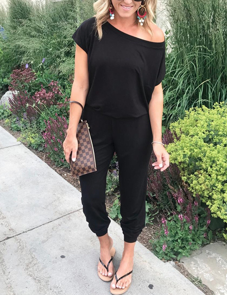 Women Jumpsuit Fashion Short Sleeve Off Shoulder Female Rompers Playsuit Sexy Plus Size High Waist Solid Woman Long Trousers