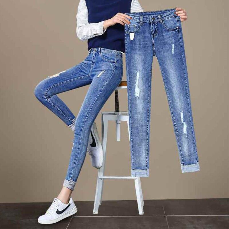 Fashion Plus Size Ripped Jeans For Women 2019 High Waist Hole Blue Elastic Pencil Pants Vintage Skinny Denim Nine Jeans Female