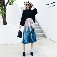 2019 nueva moda mujer otoño gradiente plisado falda de terciopelo Tie-Dye impresión alta cintura dulce Casual falda de invierno