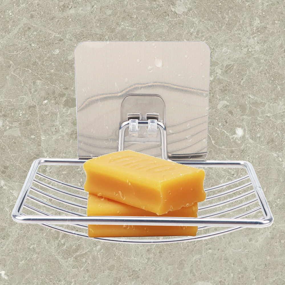 NICEYARD Self Adhesive Bathroom Storage Stainless Steel Home Storage Steel Soap Dish Wall Storage Rack Holder Soap Rack