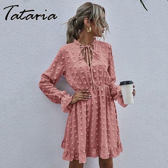 Women Pink Dress for Ladies Applique Chiffon Shirt Dress women Ruffled Neck Long Sleeve High Waist Mini Summer Dress Vestido 2